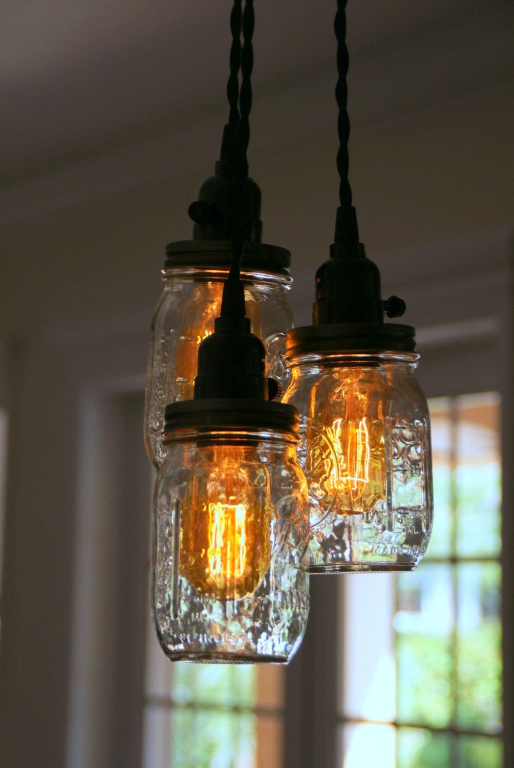 3 5 light mason jar chandelier clear pint. Black Bedroom Furniture Sets. Home Design Ideas