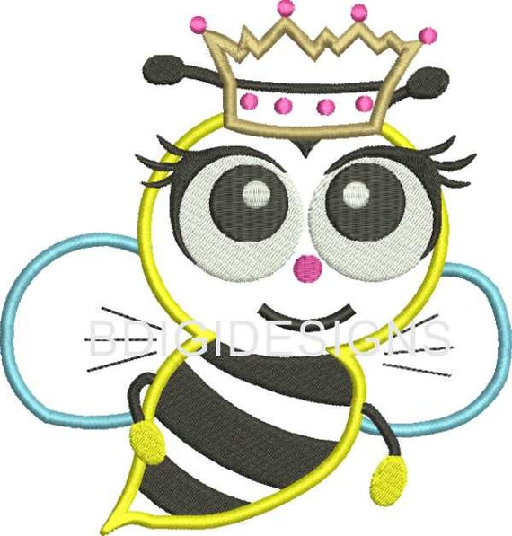 Bee applique embroidery design by bdigidesigns on etsy