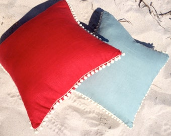 Red Linen Pillow Cover with Off White PomPom Trim