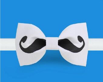Moustache BowTie- White Bowtie -Classic Bowtie - Adjustable Bowtie