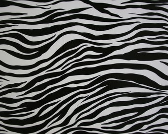 Zebra black and white oilcloth by the yard.