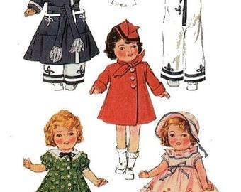 "1930's Movie Doll Wardrobe Pattern for 16"" Dolls"