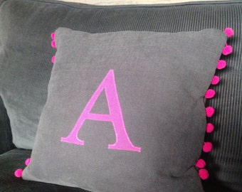 Bright & colourful letter pillow/cushion, handmade personalised designer fabric with Pom Pom trim.