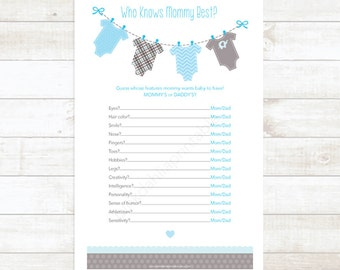 who knows mommy best? baby boy shower game baby shower printable game baby blue baby clothes hanger baby shower game - INSTANT DOWNLOAD