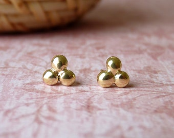 Gold Stud Earrings - Handmade Gold Studs - Triple Dot