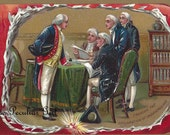 Antique postcard of the signing of the Declaration of Independance INSTANT download