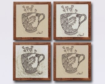 Coffee tea cup drawing, Modern Home Decor, Set of 4 Brown and Cream Art Prints, Contemporary Kitchen art decor, I love you print Home  decor