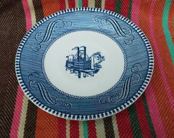 Set of 8 Vintage Currier & Ives Royal Ironstone Steamboat Saucer Low Water On The Mississippi