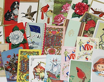 Playing Card Assortment , 25 Assorted Playing Card Mix, Collage Supplies, Altered Art Supply, C107