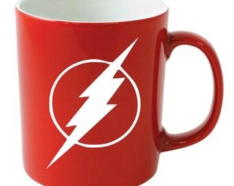 Customized Superhero, The FLASH emblem Hand Painted Ceramic Coffee mug
