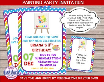Painting Party Invitation, Editable invitation, you choose the wording, colorful, baby shower, birthday party, art party, artist party,paint