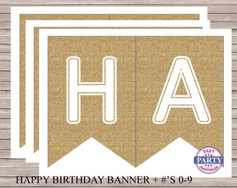 Burlap Birthday Banner, Instant Download, Happy birthday banner, printable banner, burlap, any occasion, brown and white, party printables