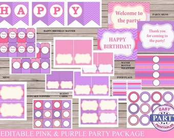 Pink and Purple Editable Party Package, Digital Download, baby shower, birthday party, bridal shower, package, design your own party package