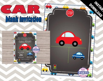 Car Party Invitation Template, red and gray, Create your own invitation, Any Occasion, cars, street lights, stop signs, add your own text