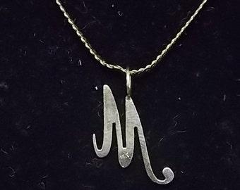 "Vintage Estate 14K Italian Yellow Gold Chain Necklace""M"" Pendant 3.11g #E836"