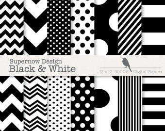 FREE COMMERICAL use Black & White Digital Paper Pack. Classic Simple Mixed Scrapbooking papers. Chevrons, Polka Dots, Stripes.