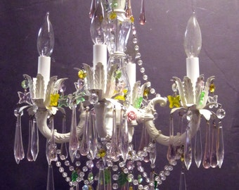 "4 Arm Mini Chandelier ""SUMMER"" dripping with Murano and Swarovski Crystals"