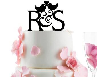 Custom Wedding Cake Topper - Personalized Monogram Cake Topper -Initial -  Cake Decor - Love Birds -  Bride and Groom