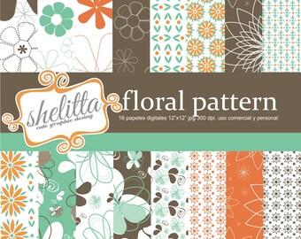 floral pattern, coffee, Orange, mint