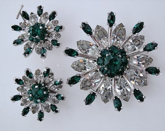 Vintage Rhinestone Brooch & Earrings * Emerald Green and Ice * Signed Kramer* Wedding, Holidays, Party, Evening, Dance, Celebration