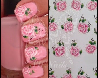 Nail Art Pink Flower Rose Water Decals Transfers