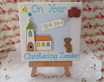 Christening Gift Ceramic Tile with Wooden Easel