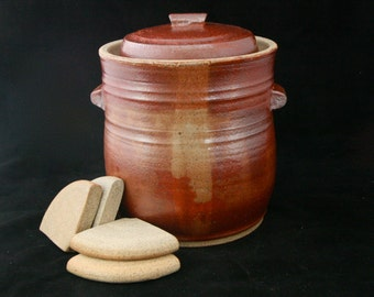 Fermentation Crock 3 5 Liters With Water Lock Lid And