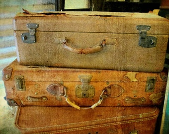 Vintage Luggage photo, luggage photo, vintage luggage photography, brown, gold, rustic decor, rustic, antique luggage photo, luggage photo
