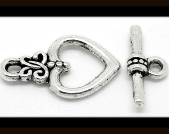10 sets - 21mm Silver Heart Toggle Clasps