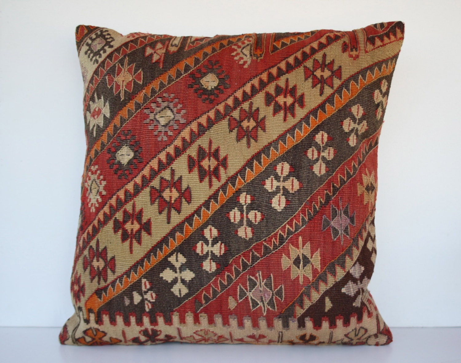 Big Throw Pillows For The Floor : 24 x 24 Large Kilim Pillow Throw Pillow Large Floor by elifartdeco