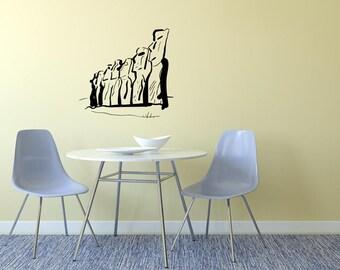 Easter Island Heads Skyline Vinyl Wall Decal  Wall Art Sticker Room Decor
