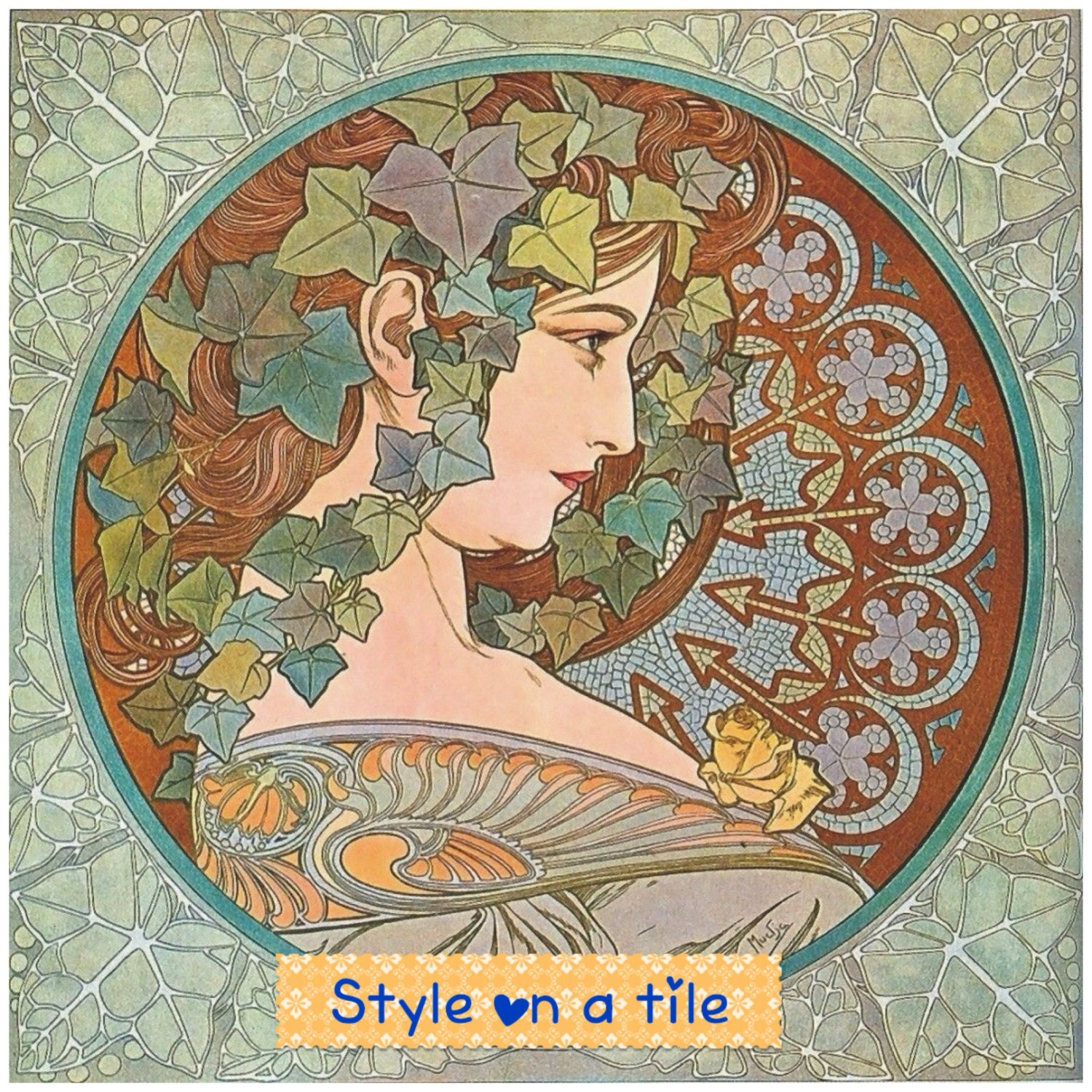 Lovely art nouveau alphonse mucha ivy lady for Art nouveau tile mural