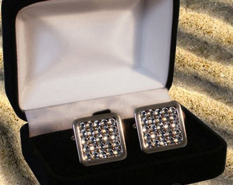 Wedding Men's Cufflinks with Swarovski Black Diamond Cristals Gift