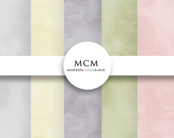 Digital Watercolor Paper Pack Pastel Paint Strokes Paper Pack Background Instant Download