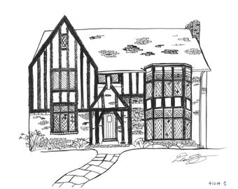 Tudor Revival Pen & Ink