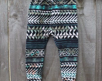 Turquoise/Black/Cream/Peach Tribal Baby Leggings // Baby Legging // Baby Pants // Aztec Leggings // Baby Legging // Ethnic Baby Leggings