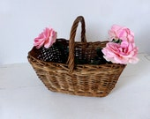Vintage French Woven Market Basket