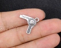 15pcs of Antique silver tone Hair Drier Charms Pendant  2 sided  18x19mm