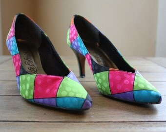 80s color block pumps, Life Stride, size 8