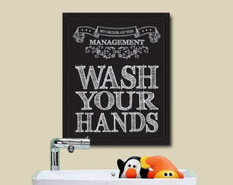 PRINTABLE House Rule / Wash Your Hand / Instant Download / 8 x 10 Digital Download