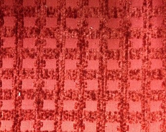 Red Upholstery Fabric -  Grid Texture Fabric -Upholstery Fabric By The Yard - Red Upholstery Fabric By The Yard