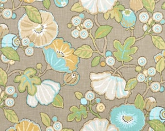 Turquoise and Sunny Yellow  Hip Floral Upholstery Fabric - Ottoman Fabric - Headboard Fabric
