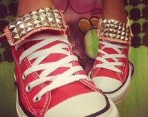 Custom Red Studded Converse All Star High Tops - Chuck Taylor  ALL SIZES & COLORS!!
