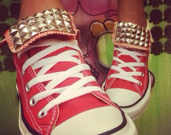 Custom Red Studded Converse All Star High Tops - Chuck Taylor  ALL SIZES & COLORS!! Festival Shoes; Wedding Shoes; Fitness Shoes;