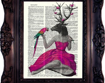 Steampunk Pin Up Deer in Pink. Dictionary art print. Vintage Art Print. Book Page. Art print. Dictionary print Parrot. Butterfly. Code:156