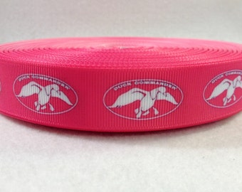 7/8 Pink and White Duck Commander Grosgrain Ribbon