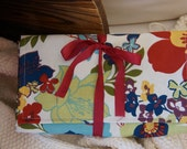 DPN and Circular Knitting Needle Case in Floral and Navy (Orange Zipper)