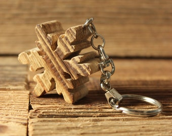 Snowflake 2 rustic Old Fir wooden keychain