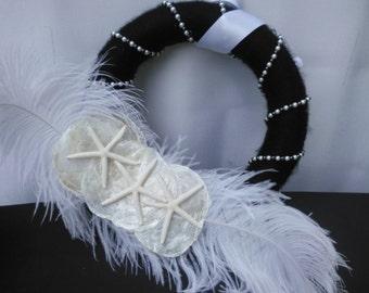 Black/ White Feather, Pearls & Seashells Wreath