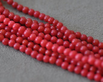 Red Coral round beads 4mm 16 inches strand